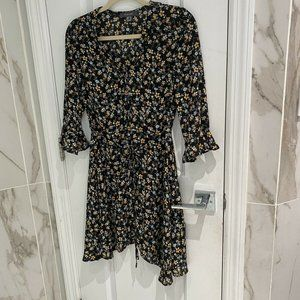 Primark Black Floral Long Sleeve Short Dress 4